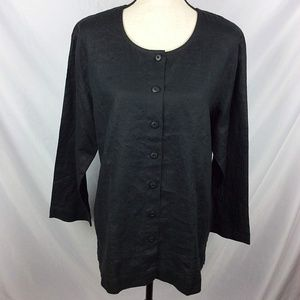 LL Bean Washable Linen Tunic Top Button Front